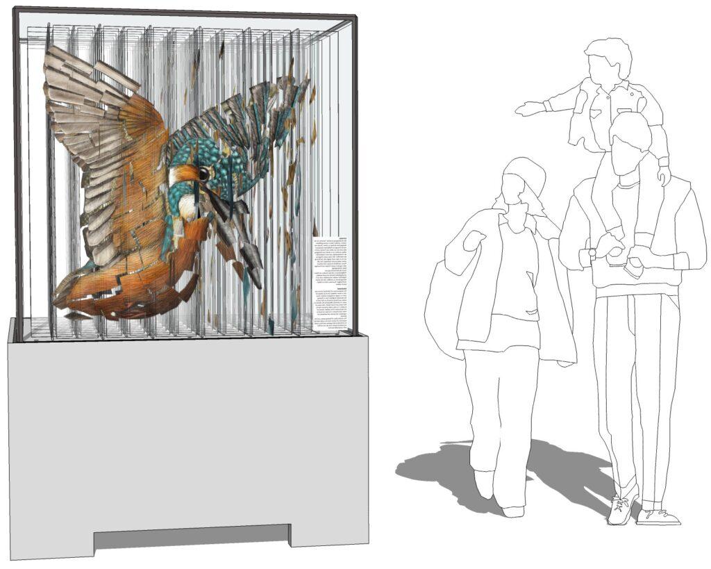 Das Bild zeigt eine Skizze des Projekts. Ein Betonsockel auf dem ein fragmentarisch zusammengesetzer Eisvogel erkennbar ist. Daneben sieht man eine Skizze einer Familie (Vater, Mutter, Kind), die sich die Skulptur anschauen. Das Kind sitzt auf den Schultern des Vaters und zeigt auf die Skulptur.