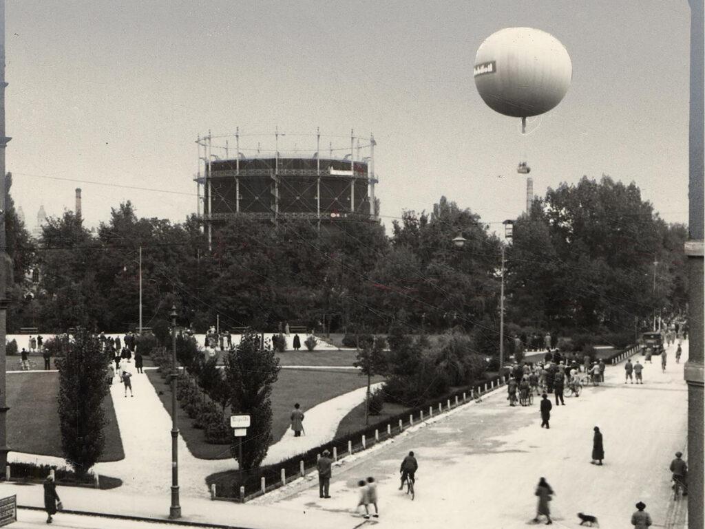 Das Gaswerk im Rapoldipark, Foto aus dem Jahr 1921